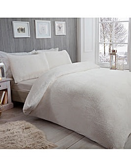 Waffle Fleece White Duvet Cover Set
