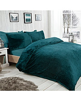 Waffle Fleece Green Duvet Cover Set