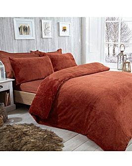 Waffle Fleece Rust Duvet Cover Set
