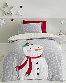 Snowman Fleece Duvet Cover Set