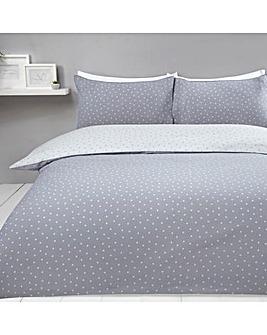 Mini Dots Grey Reversible Duvet Cover Set