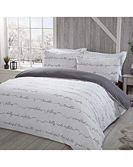 Wintery Words Grey Duvet Cover Set