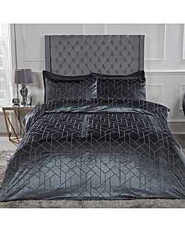 Geo Velvet Charcoal Duvet Cover Set