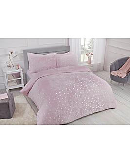 Polka Dot Foil Fleece Blush Duvet Cover Set