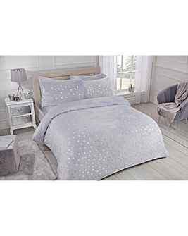 Polka Dot Foil Fleece Grey Duvet Cover Set
