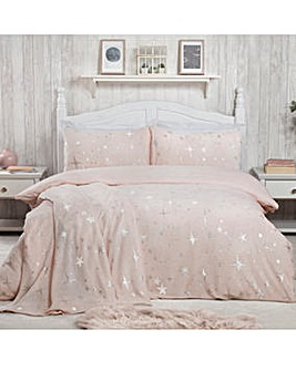 Stars Foil Fleece Blush Duvet Cover Set