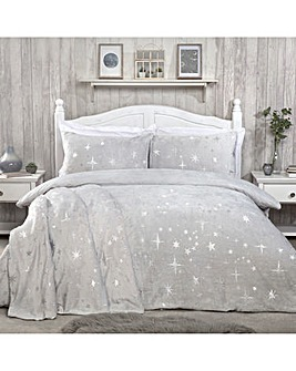 Stars Foil Fleece Silver Duvet Cover Set