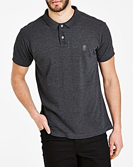 Charcoal Short Sleeve Embroid Polo Long