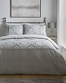 Windsor Jacquard Silver Duvet Cover Set