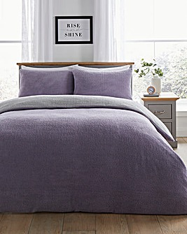 Reversible Violet & Grey Fleece Duvet Cover Set