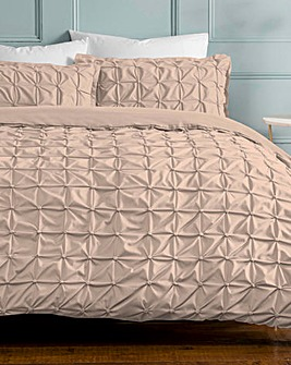 Ruched Pleated Blush Duvet Cover Set