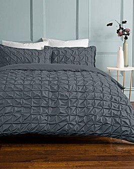 Ruched Pleated Charcoal Duvet Cover Set