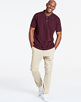 Wine Short Sleeve Embroidered Polo Long
