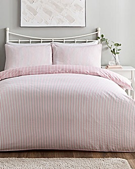 Mini Stripe Blush Reversible Duvet Cover Set