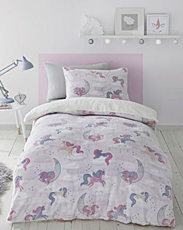 Catherine Lansfield Unicorn Dreams Glow in the Dark Duvet Cover Set