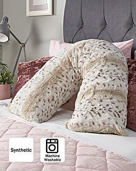 Snow Leopard Print V Shape Faux Fur Pillow