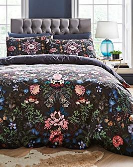 Midnight Garden Floral Velvet Duvet Cover Set