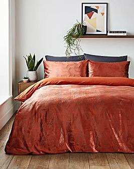 Iridescent Hexagon Pumpkin Duvet Cover Set