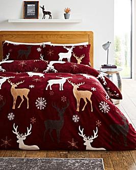 Festive Stags Fleece Duvet Set