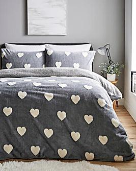 Hearts Fleece Grey Duvet Cover Set