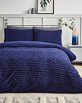 Pipin Navy Cuddle Fleece Duvet Cover Set
