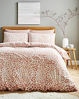 Leopard Cuddle Fleece Blush Duvet Cover Set