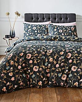 Coleen Black Floral Duvet Cover Set