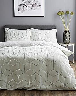 Zita White Metalic Jacquard Duvet Set