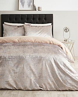 Foil Champagne Crushed Velvet Duvet Cover Set