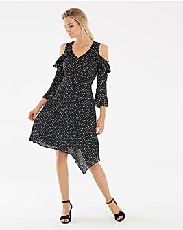 Black Ruffle Front Cold Shoulder Dress