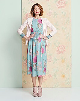 Sage Floral Shirred Waist Dress