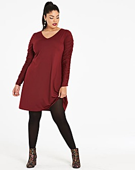 Oxblood V-Neck Swing Dress