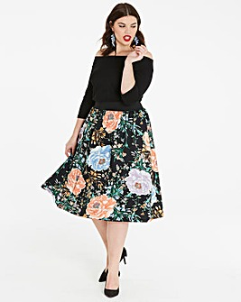 Floral Print Bardot Prom Dress