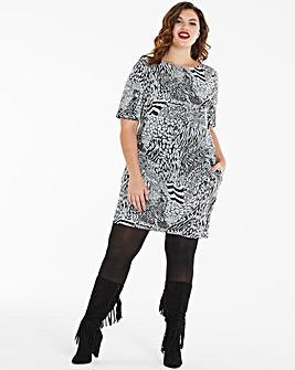 Zebra Print Side Pocket Shift Dress