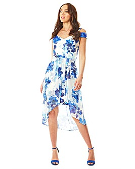 Roman Floral Dipped Hem Midi Dress