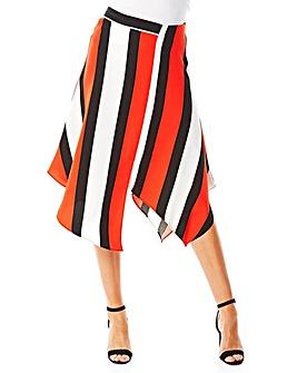 Roman Asymmetric Stripe Midi Skirt