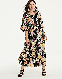Floral Pom Pom Maxi Dress