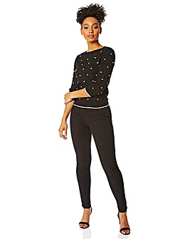 Roman 3/4 Sleeve Embroidered Spot Jumper