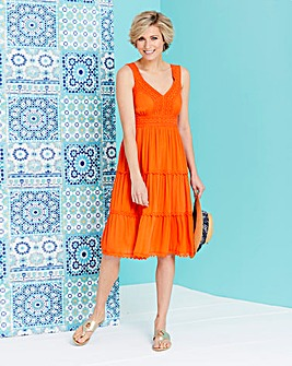 Crinkle Fit and Flare Dress