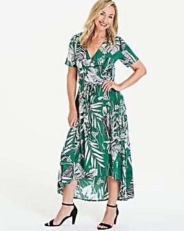 Green Floral Dipped Back Wrap Dress