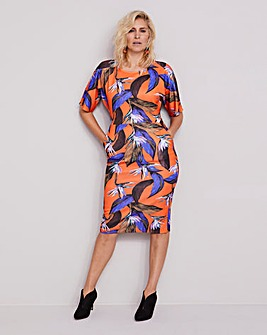 Orange Floral Printed Bodycon Dress