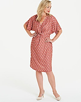 Printed V-Neck Twist Knot Midi Dress