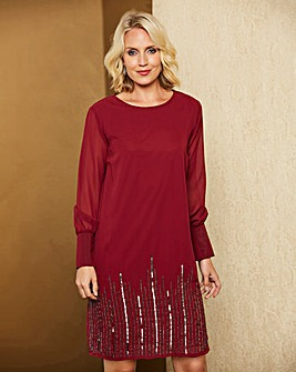 Mulberry Beaded Hem Shift Dress