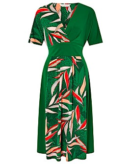 Monsoon Lorna Leaf Print Dress