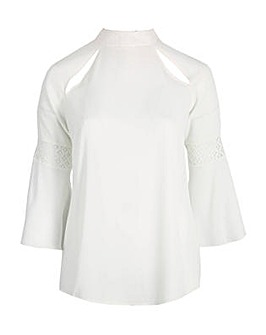 Lovedrobe GB ivory bell sleeve blouse