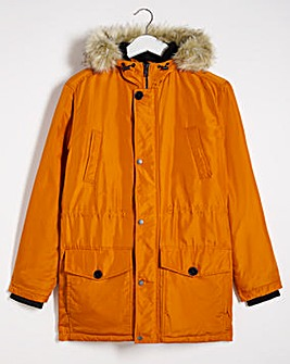 Rust Faux Fur Trim Parka