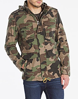 Camo Casual Borg Lined Jacket Long