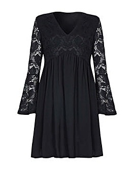 Mela London Curve Flute Sleeve Lace Dres