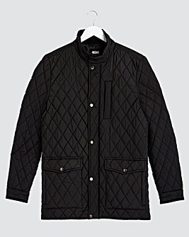 Black Quilted Four Pocket Jacket Long