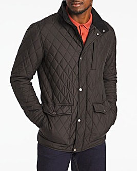 Black Quilted Three Pocket Jacket Long